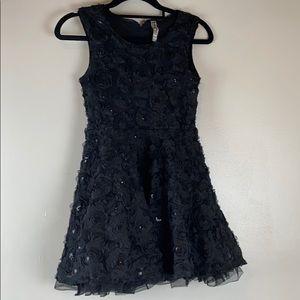 Beautees Black Rosette Sleeveless Party Dress